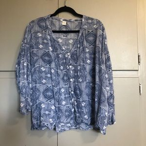 Volcom long sleeve blue and white button up shirt